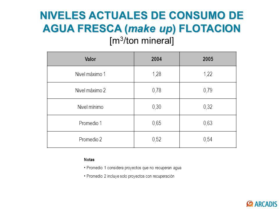 NIVELES ACTUALES DE CONSUMO DE AGUA FRESCA (make up) FLOTACION [m3/ton mineral]